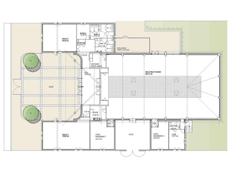 Plan salle polyvalente Fontvieille