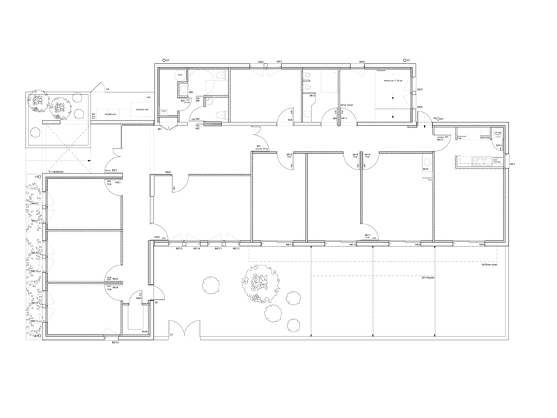 Hopital de jour Arles - Plan rdc